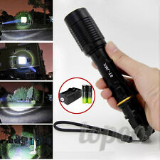 Black Tactical 6000LM Zoomable CREE XML T6 LED Flashlight Lamp&18650&Charger
