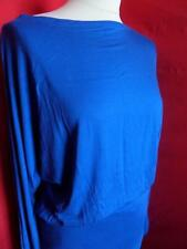 NEW LADIES BLUE  LONG SLEEVE LOOSE FIT BATWING BOAT NECK TOP JUMPER WOMENS S/M