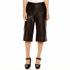 Bisou Bisou Faux-Leather Black Culottes Size XS New Msrp $48.00