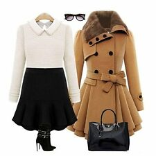 Women's Fashion Faux Fur Lapel Double-breasted Thick Wool Trench Coat Jacket Hot