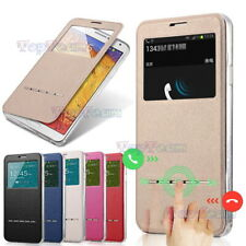Slim Clear View Window + Slide Answer Flip Leather Smart Case Cover For iPhone