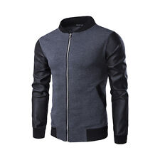 Mens Hoodies Jackets Long Sleeve Sweatshirt Splice PU Sweater Tops Coats Outwear