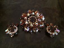 VERIFIED JULIANA D&E AMBER TOPAZ IRIDESCENT RHINESTONE BROOCH PIN & EARRINGS SET