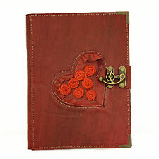 Red Rose Large Handmade Leather Journal Diary Sketch Notebook
