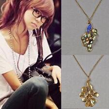 Pendant Rhinestone Long Lady 1pcs Retro Style Chain Necklace Women Peacock Hot