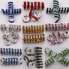 50-100Pcs Acrylic Silver Plated Spacer Loose Beads Charms Findings 8mm DIY Craft