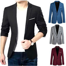 Stylish Men's Casual Slim Fit One Button Suit Blazer Coat Jacket Tops