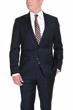 Mens Extra Slim Fit Solid Navy Blue Two Button Wool Suit