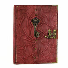Heart Key Purple Large Handmade Leather Journal Diary Sketchbook Notebook Paper