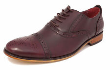 Mens Leather Lined Smart Lace Up Oxford Brogues Shoes OXBLOOD BURGUNDY 6-12