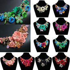 Hot Women Statement Choker Flower Crystal Necklace Chunky Collar Pendant Jewelry