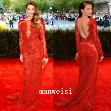 Luxury Red Sheer Lace Evening Dresses Red Carpet Crystals Dots Tulle Party Gown