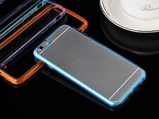 NEW Cool Blue Gel TPU Bumper Crystal Clear Faceplate Hard Case for iPhone 6 4.7""