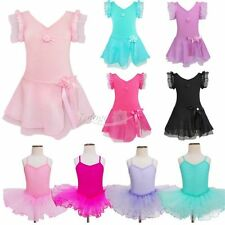 Girls Kids Gymnastics Ballet Dress Toddler Leotard Tutu Skirt Dancewear Costumes