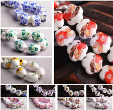 10/30Pcs Flower Patterns Ceramic Porcelain Charms Loose Spacer Beads 92 Styles