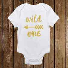 "Boho Style ""Wild One"" Gold Sparkle Onesie with Heart bottom Baby Girl Shower"