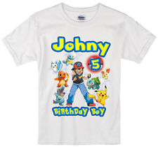 Pokemon birthday shirt Personalized Custom Name Age Kids T-Shirt