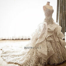 Luxury White Ivory Bridal Dress Strapless Leaf Appliques Wedding Dresses Custom
