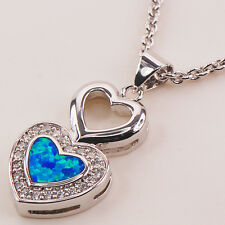 Heart Blue Fire Opal Gemstone Silver Gold Filled Fashion Jewelry Pendant P124