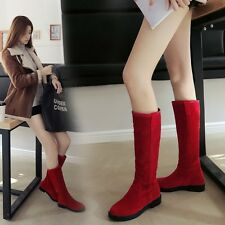 Womens Ladies Girls Faux Suede Knee High Boots Causal Punk Riding Shoes Plus Sz