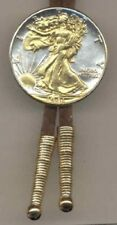 Walking Liberty Silver ½ Dollar Bolo Tie with Suede Cord, 24k Gold/Silver Coin