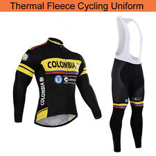 Mens Cycling Fleece Jersey Bib Pants Set Bike Riding Thermal Shirt Tights Kits