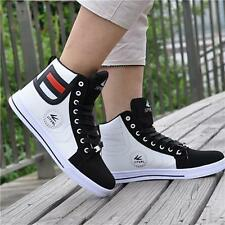 Fashion Men Lace up Flats High Top Canvas Sneakers Running Shoes Ankle Boots FW