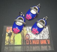 ✿ BLUE MARY JANES GIRL SHOES QUALITY PENDANT CHARMS WITH PINK FLOWERS - FINDINGS