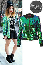 WOMENS LADIES LONG SLEEVE FLORAL SEQUIN MESH BOMBER JACKET EMBELLISHED ZIPPER