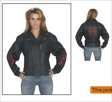 Women's Motorcycle Racer Black Leather Jacket With Snap Down Collar Size XS-4XL