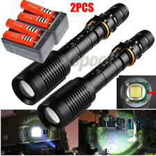 2Sets 5000Lumens CREE XML T6 Zoom LED Flashlight Torch+2X 18650 Battery+Charger