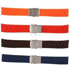 Silicone Rubber Waterproof Sport Wrist Watch Band Waterproof Deployment Clasp