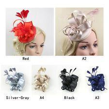 Lady Girl  Satin Fascinator Feather Clip Hat Topper Party Wedding Races