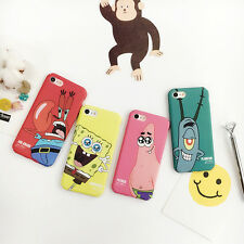 Cartoon simple cute SpongeBob Patrick matte back Case Cover for iPhone 7 6S Plus