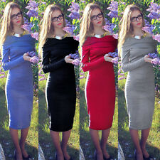Sexy Women's Long Sleeve Off Shoulder Dress Slim fit Evening Coctail Party Dress