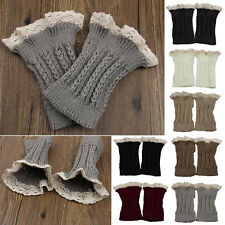 Korean Style Crochet Knit Lace Trim Leg Warmers Cuffs Toppers Boot Ankle Tube
