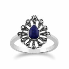 Gemondo 925 Sterling Silver 0.30ct Lapis Lazuli & Marcasite Art Deco Ring