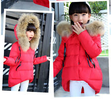 Newest Girls' Kids Cotton-padded Jacket Thick Winter Fur Hooded Coat 3-10T Parka