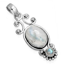 Natural Rainbow Moonstone 925 Solid Sterling Silver Fashion Pendant zc63838