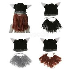 Funny Hat Xmas Cosplay Costume Beanie Wind Mask Knit Cap Bearded Viking Horn Hat