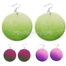 Handmade Wood Craft Circle Round Earrings Wooden Hook Drop Dangle Jewelry Gift