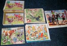 Five vintage children's toddler jigsaws plywood Victory Spear's Hayter antique