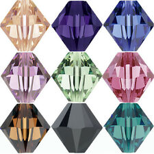 Wholesale 50/100Pcs Faceted Glass Crystal Loose Bicone Spacer Charms Beads DIY