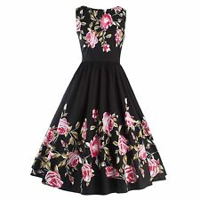 50'S 60'S Vintage Style Women Floral Printed Rock Check Cocktail Party Dress