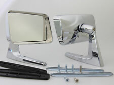 NEW PAIR SQUARE CHROME FENDER CLASSIC DOOR MIRRORS LONG BASE 2 PIECES LEFT RIGHT