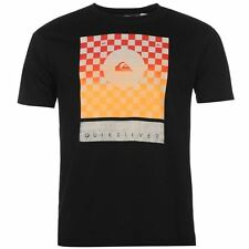 Mens T Shirt Crew Neck Quiksilver Checkers New