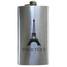 Personalized Engraved Eiffel Tower 12 Oz Stainless Steel Pocket Hip Flask