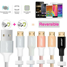 Braided Heavy Duty Double Sided Reversible Micro USB Data Sync Charger Cable Lot
