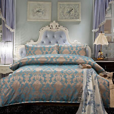 Luxury 5pc. Teal Embroidered Queen King Satin 100% Cotton Duvet Bedding Set