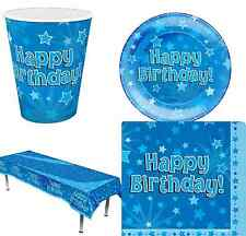 Happy Birthday Blue Stars Birthday Party 8 Piece Ages 1,2,3,4,5,6,7,8,9,10,13